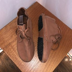 TAOS Brown Soft Leather Moccasin Booties - 9